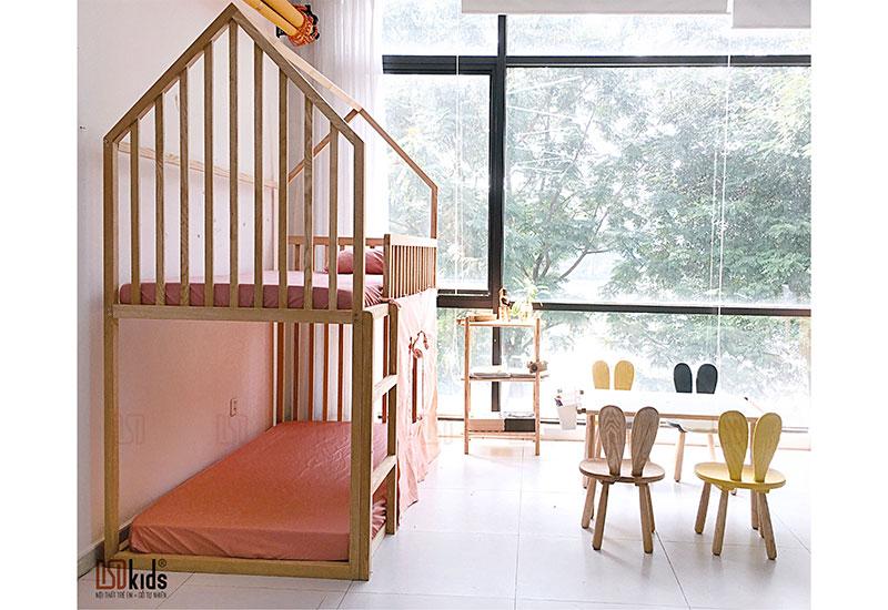giường tầng gỗ trẻ em