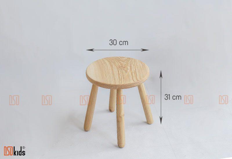 Ghế đôn tròn gỗ tự nhiên