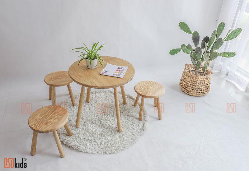 Ghé đôn tròn gỗ tự nhiên