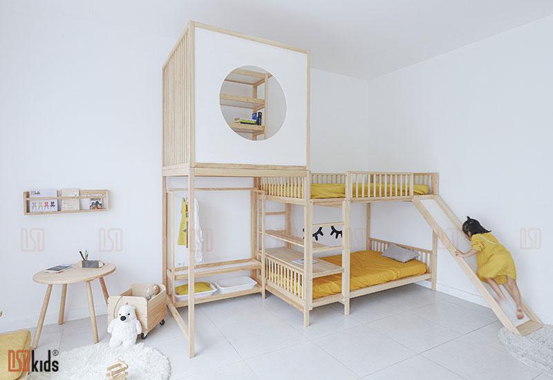 giường 3 tầng gỗ